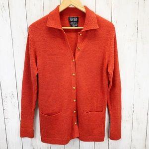 Escada Sport Orange Wool Cashmere Cardigan Sz S